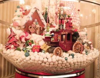 A close-up of the gum ball machine